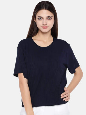 Women's Viscose Elastane Navy Regular Fit Tshirt Cottonworld Women's T-shirts