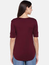 Women's Viscose Elastane Wine Regular Fit Tshirt Cottonworld Women's Tshirts