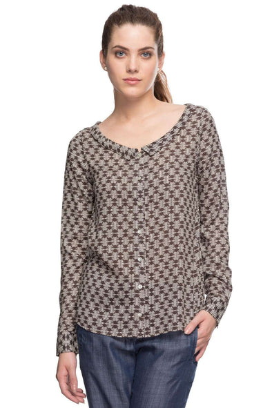 Cottonworld Women's Tops 100% MODAL WOVEN BLACK REGULAR FIT BLOUSE