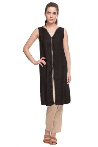 Cottonworld Women's Tops 100% MODAL WOVEN BLACK REGULAR FIT KURTI