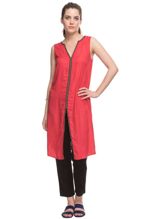 Cottonworld Women's Tops 100% MODAL WOVEN CORAL REGULAR FIT KURTI