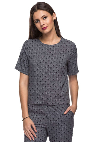 Cottonworld Women's Tops 100% MODAL WOVEN NAVY REGULAR FIT BLOUSE
