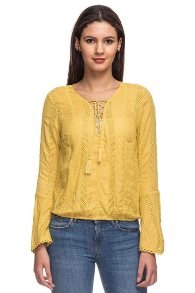 Cottonworld Women's Tops 100% VISCOSE WOVEN MUSTARD REGULAR FIT BLOUSE