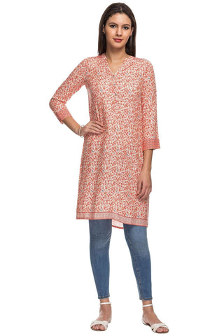 Cottonworld Women's Tops 100% VISCOSE WOVEN ORANGE KURTI