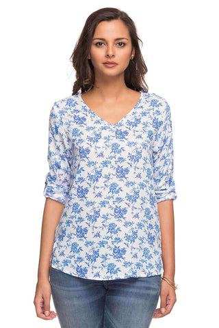 Cottonworld Women's Tops LADIES 100% MODAL BLUE PRINT BLOUSE
