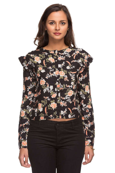Ladies Rayon Black Print Blouse Cottonworld Women's Tops