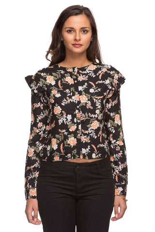 Cottonworld Women's Tops LADIES 100% RAYON BLACK PRINT BLOUSE