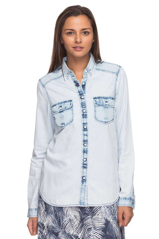 Cottonworld Women's Tops Women Light Blue Denim Shirt
