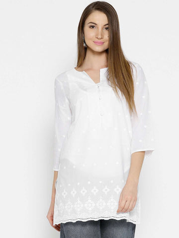 Cottonworld Women's Tops WOMEN'S 100% CAMBRIC WHITE REGULAR FIT BLOUSE