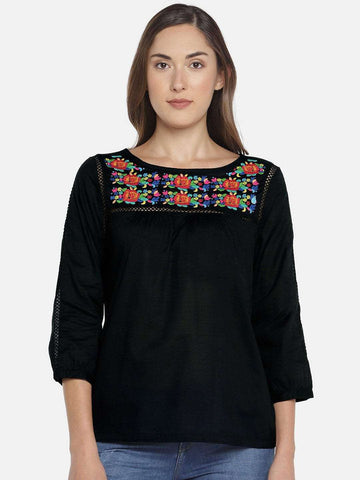 Cottonworld Women's Tops WOMEN'S 100% COTTON BLACK REGULAR FIT BLOUSE