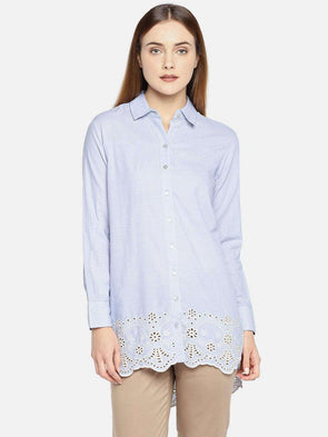 Cottonworld Women's Tops WOMEN'S 100% COTTON BLUE REGULAR FIT BLOUSE