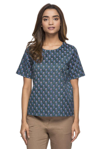 Cottonworld Women's Tops WOMEN'S 100% COTTON GREEN REGULAR FIT BLOUSE