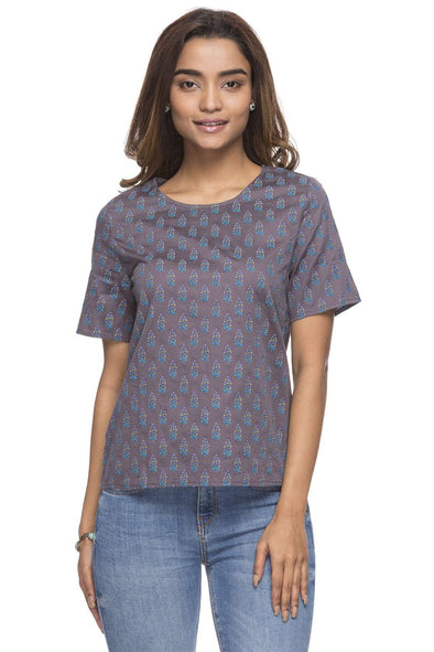 Cottonworld Women's Tops WOMEN'S 100% COTTON GREY REGULAR FIT BLOUSE