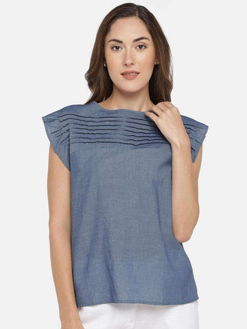 Cottonworld Women's Tops WOMEN'S 100% COTTON INDIGO REGULAR FIT BLOUSE