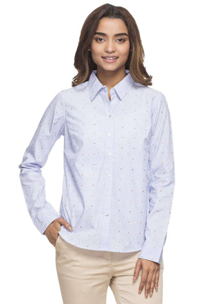 Cottonworld Women's Tops WOMEN'S 100% COTTON LBLUE BLOUSE