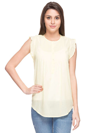 Cottonworld Women's Tops WOMEN'S 100% COTTON LIME REGULAR FIT BLOUSE