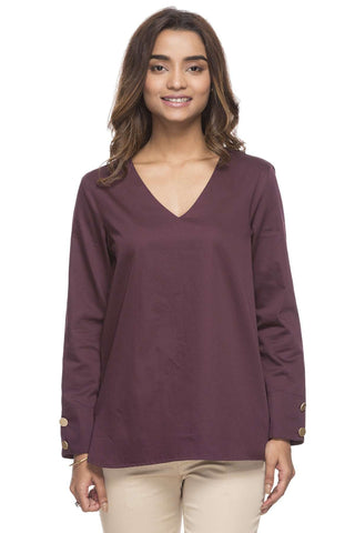 Cottonworld Women's Tops WOMEN'S 100% COTTON MAROON REGULAR FIT BLOUSE