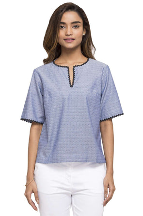 Cottonworld Women's Tops WOMEN'S 100% COTTON NAVY REGULAR FIT BLOUSE