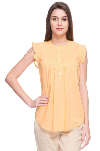 Cottonworld Women's Tops WOMEN'S 100% COTTON ORANGE REGULAR FIT BLOUSE
