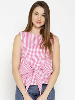 Cottonworld Women's Tops WOMEN'S 100% COTTON PINK REGULAR FIT BLOUSE