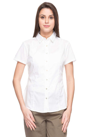 Cottonworld Women's Tops WOMEN'S 100% COTTON WHITE A REGULAR FIT BLOUSE