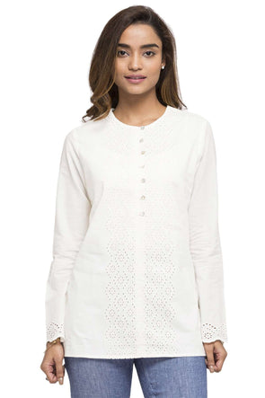 Cottonworld Women's Tops WOMEN'S 100% COTTON WHITE B REGULAR FIT BLOUSE