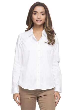 Cottonworld Women's Tops WOMEN'S 100% COTTON WHITE C BLOUSE