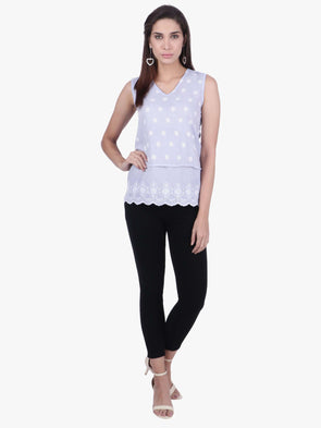 Cottonworld Women's Tops WOMEN'S 100% COTTON WHITE REGULAR FIT BLOUSE