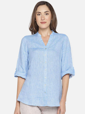 Cottonworld Women's Tops WOMEN'S 100% LINEN BLUE A LINE BLOUSE