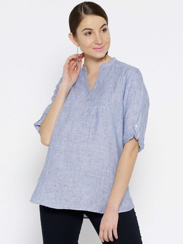 Cottonworld Women's Tops WOMEN'S 100% LINEN BLUE BLOUSE