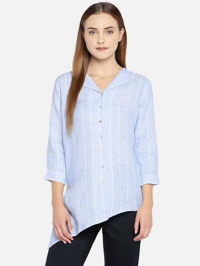 Cottonworld Women's Tops WOMEN'S 100% LINEN BLUE REGULAR FIT BLOUSE