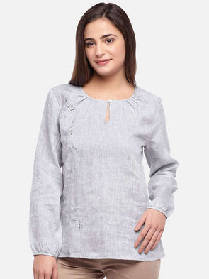 Cottonworld Women's Tops WOMEN'S 100% LINEN GREY REGULAR FIT BLOUSE
