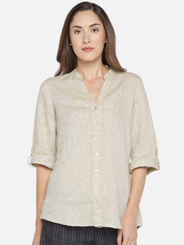 Cottonworld Women's Tops Women's 100% LINEN KHAKI A LINE BLOUSE