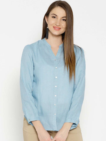 Cottonworld Women's Tops WOMEN'S 100% LINEN LBLUE BLOUSE
