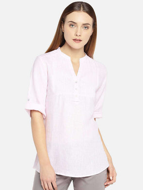 Cottonworld Women's Tops WOMEN'S 100% LINEN PINK A LINE BLOUSE