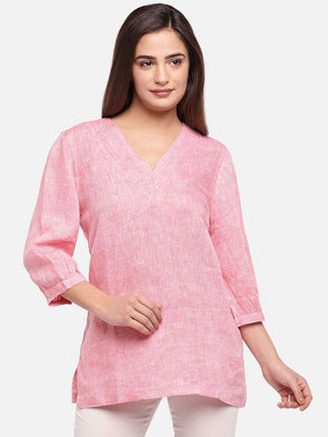 Cottonworld Women's Tops WOMEN'S 100% LINEN PINK REGULAR FIT BLOUSE