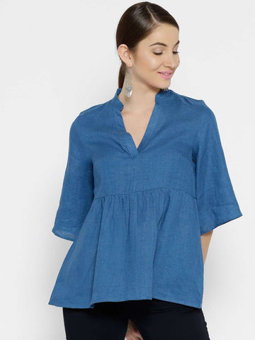 Cottonworld Women's Tops WOMEN'S 100% LINEN ROYAL REGULAR FIT BLOUSE