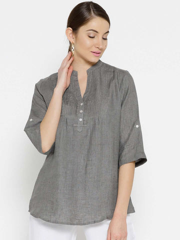 Cottonworld Women's Tops WOMEN'S 100% LINEN SILVER BLOUSE