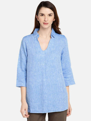 Cottonworld Women's Tops WOMEN'S 100% LINEN SKY REGULAR FIT BLOUSE