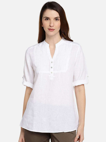 Cottonworld Women's Tops WOMEN'S 100% LINEN WHITE A LINE BLOUSE