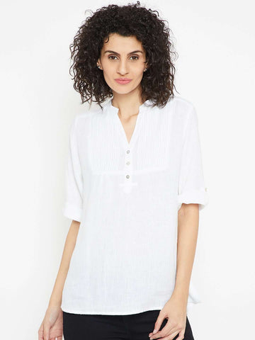Cottonworld Women's Tops WOMEN'S 100% LINEN WHITE BLOUSE