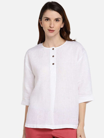 Cottonworld Women's Tops WOMEN'S 100% LINEN WHITE REGULAR FIT BLOUSE