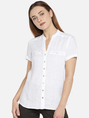 Cottonworld Women's Tops WOMEN'S 100% LINEN WHITE SLIM FIT BLOUSE