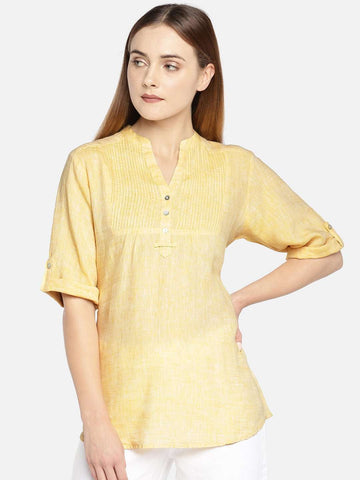 Cottonworld Women's Tops WOMEN'S 100% LINEN YELLOW A LINE BLOUSE