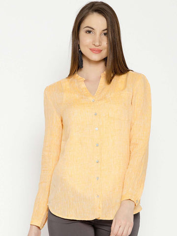 Cottonworld Women's Tops WOMEN'S 100% LINEN YELLOW BLOUSE