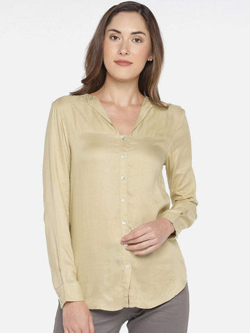 Cottonworld Women's Tops Women's 100% MODAL BEIGE REGULAR FIT BLOUSE