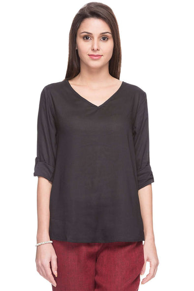 Cottonworld Women's Tops WOMEN'S 100% MODAL BLACK BLOUSE