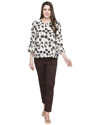 Cottonworld Women's Tops WOMEN'S 100% MODAL BLACK REGULAR FIT BLOUSE