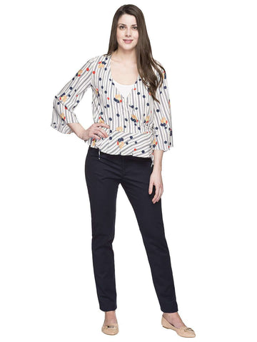 Cottonworld Women's Tops WOMEN'S 100% MODAL NAVY REGULAR FIT BLOUSE