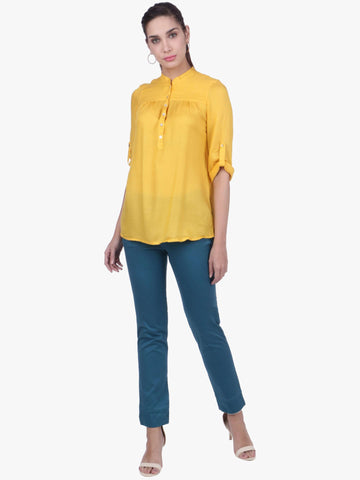 Cottonworld Women's Tops WOMEN'S 100% MODAL YELLOW BLOUSE